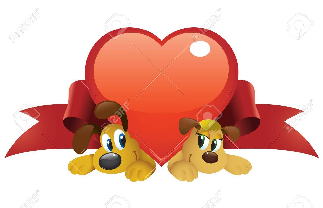 8446840-Caricature-cute-chiens-couple-sous-un-grand-coeur-brillant--Banque-d'images