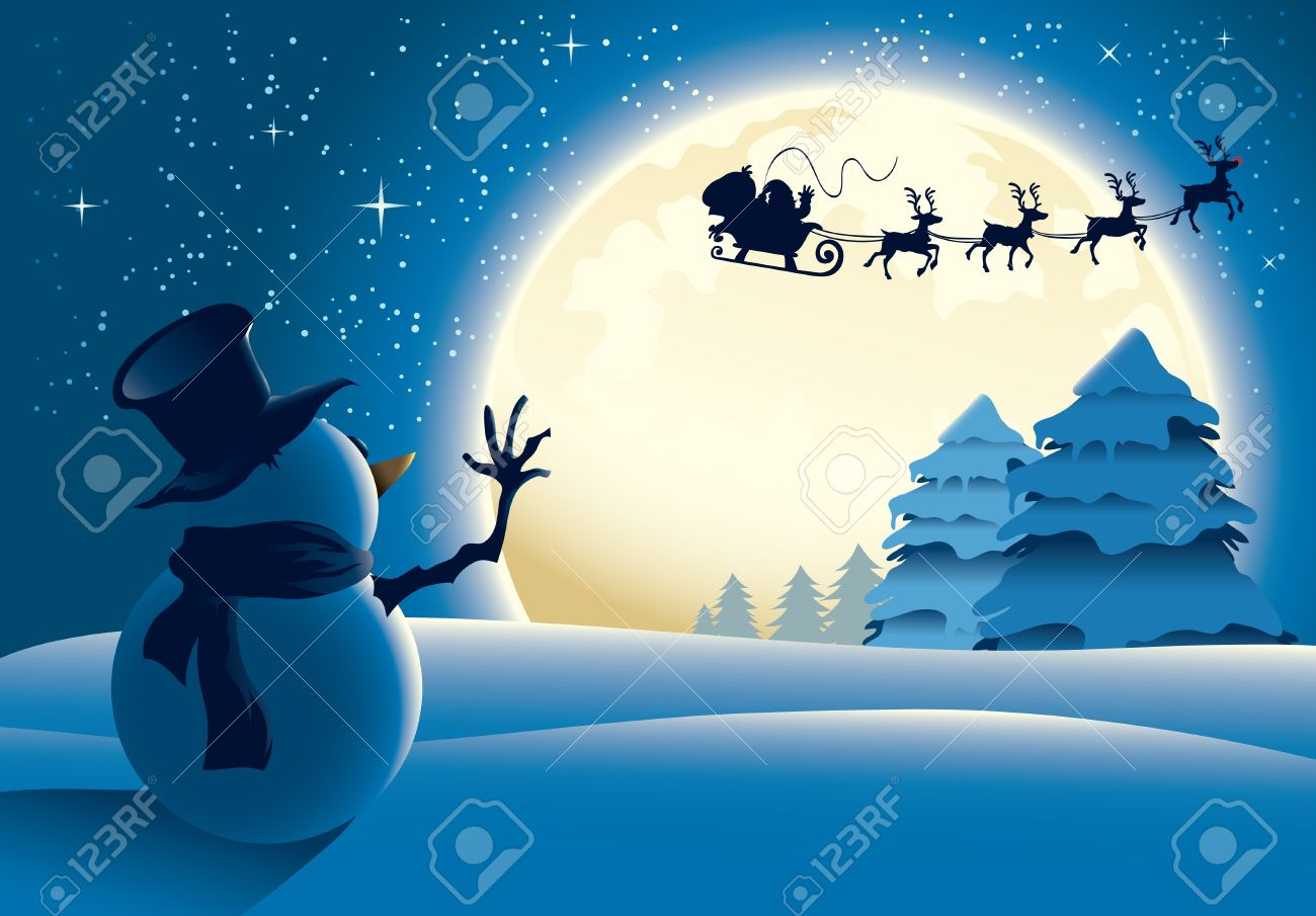 Illustration of a lonely snowman waving to santa in a distance. Great for any Christmas needs. Stock Vector - 8446864