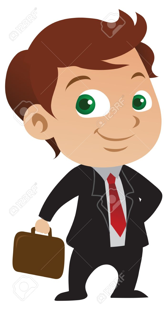 Cute young businessman with a positive attitude holding a briefcase. - 8617206