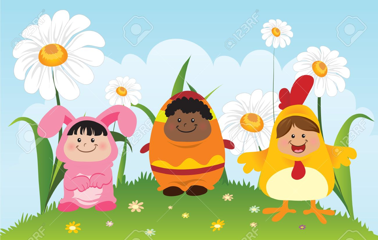 Fun Children Wearing Easter Theme Costumes Royalty Free Cliparts ...