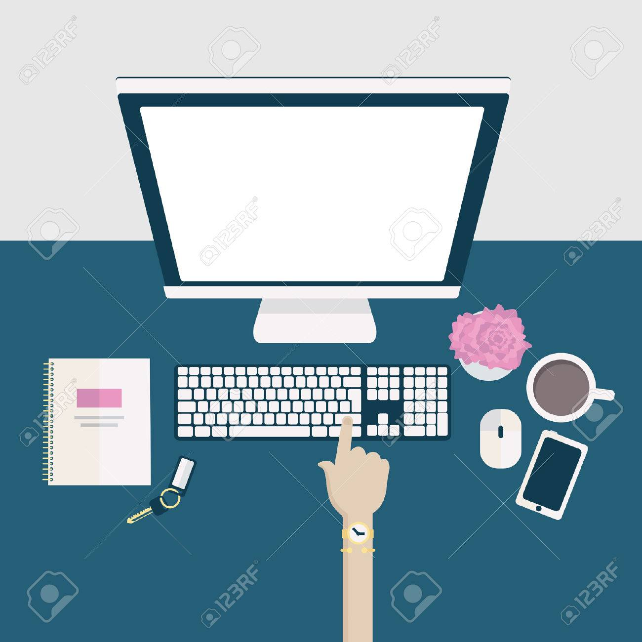 stylish home office desks. perfect home flat illustration of a stylish home office desk or workspace with hand  clicking keyboard stock vector and stylish home office desks t