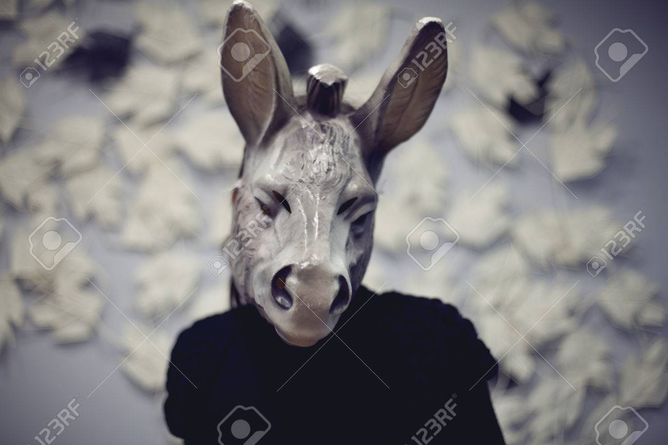 A Woman Wearing A Donkey Mask Doing A Selfie Blured Color ...