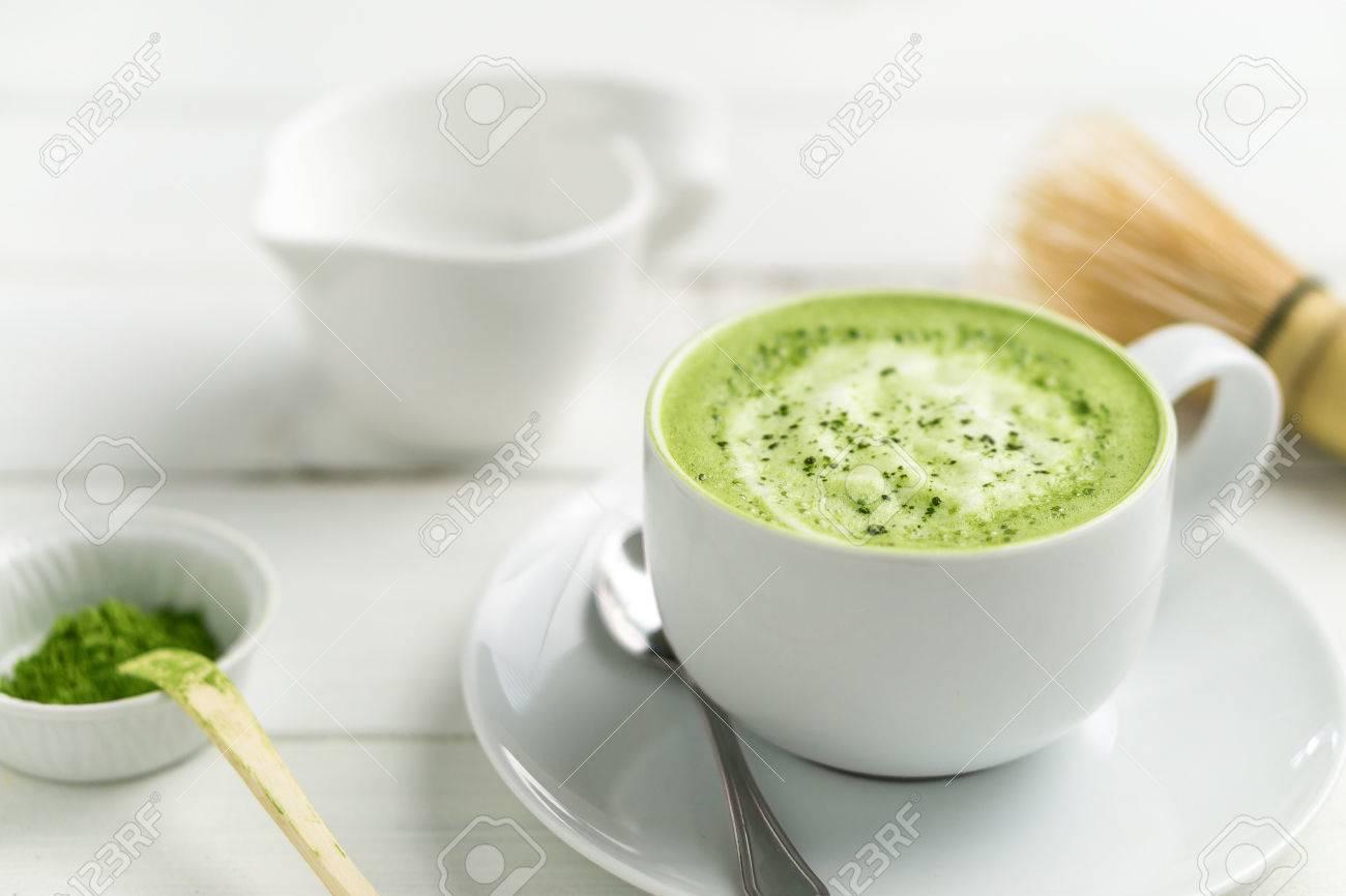 Grüner Tee Matcha Latte Tasse Auf Weißem Hintergrund Diese Latte