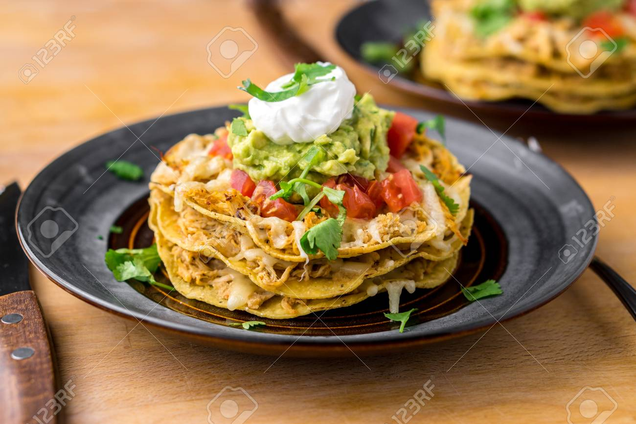 Crunchy Chicken Tostada Stack Tostadas Are A Type Mexican Food Stock Photo Picture And Royalty Free Image Image 98134490