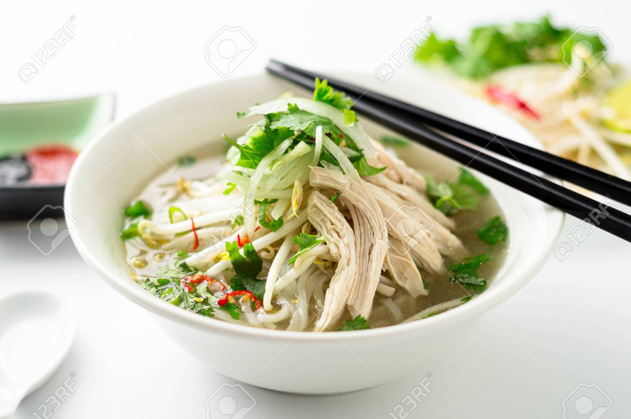 Vietnamese Pho Noodle Soup Bowl Closeup A Classic Authentic Stock Photo Picture And Royalty Free Image Image 140498720