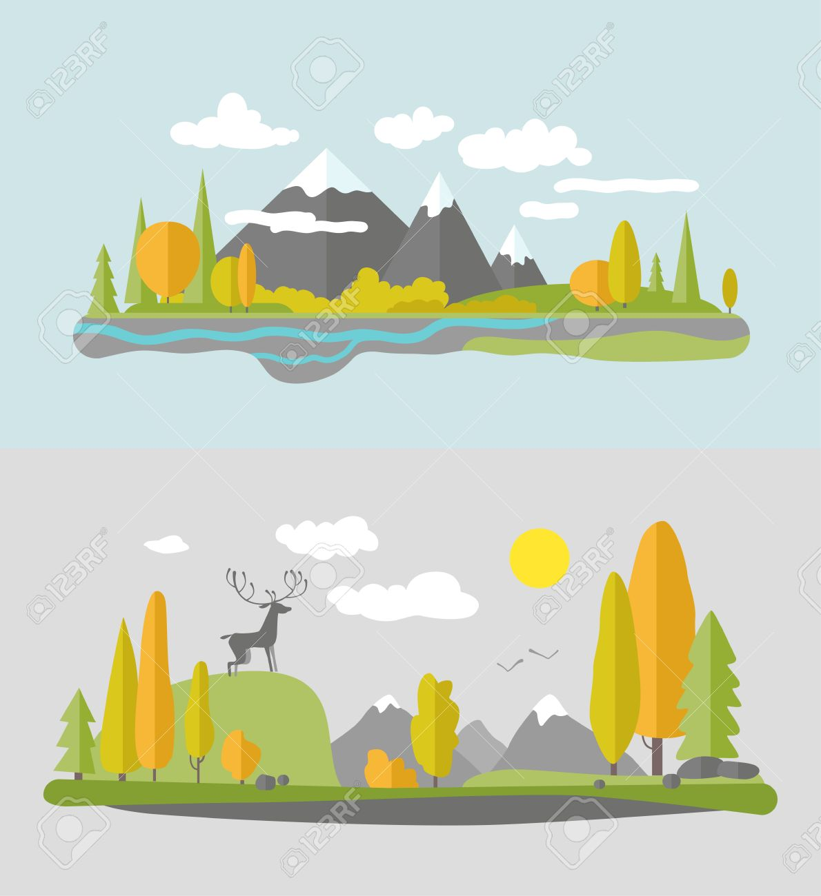 Autumn Nature Design. Vector Flat Style. Royalty Free Cliparts ...