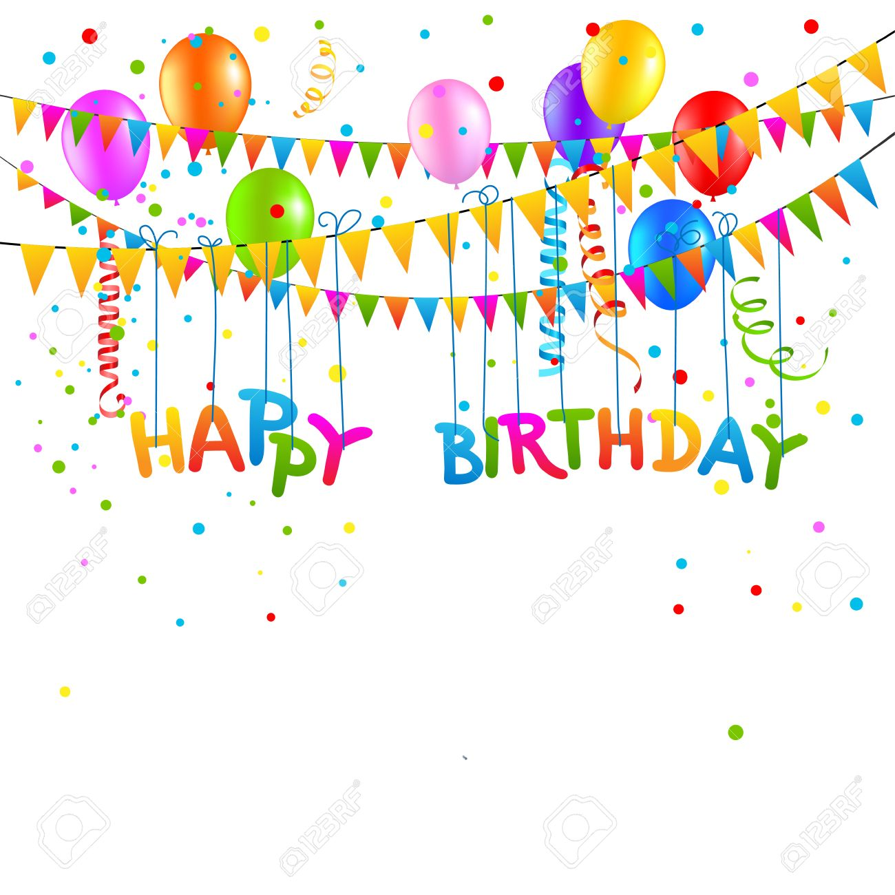 Happy Birthday Background With Balloons, Flags, Streamer. Place ...