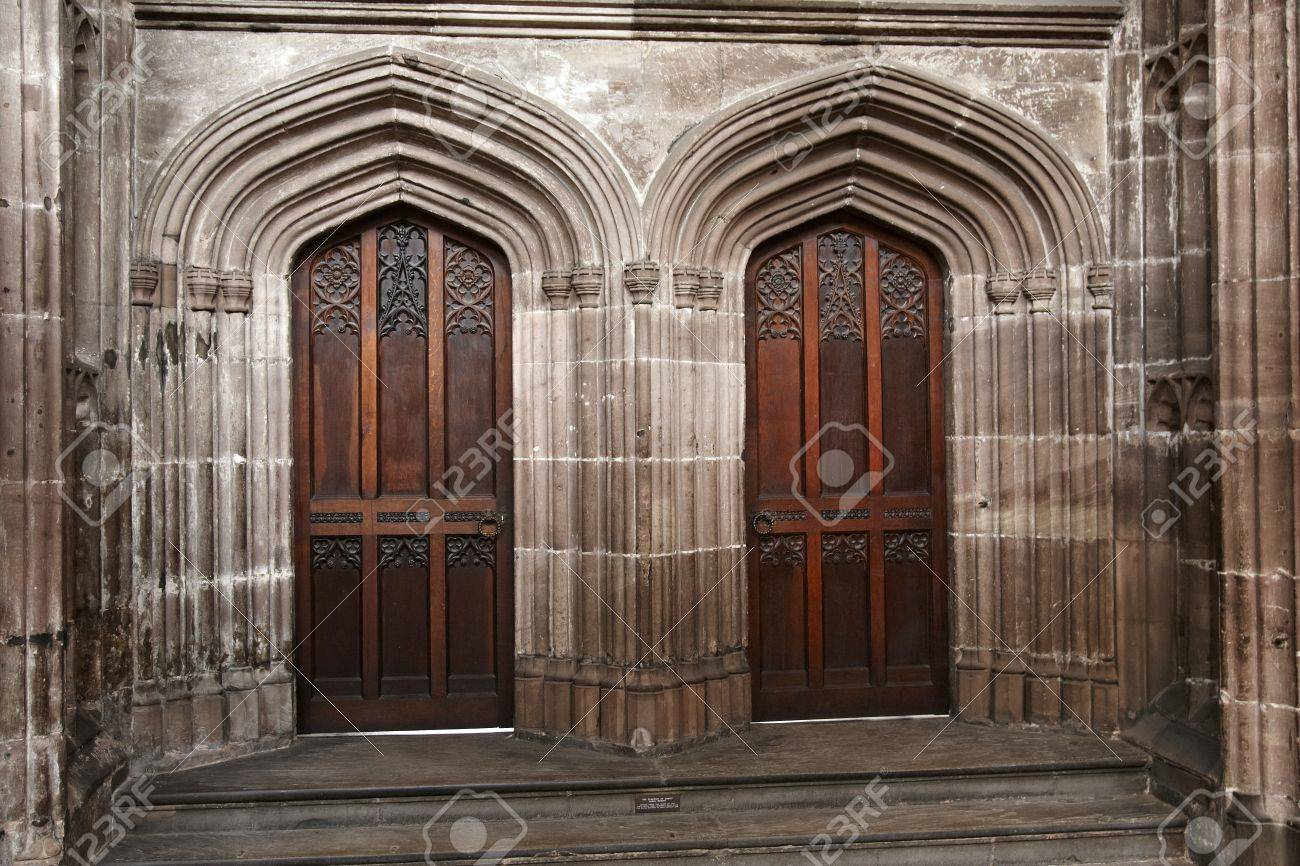 Pair of doors in Manchester Cathedral taken from inside the building Stock Photo - 19349268 & Pair Of Doors In Manchester Cathedral Taken From Inside The Building ...