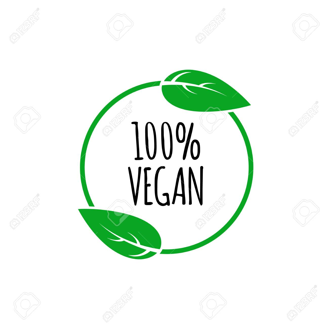 Round vegan, eco, bio green icon with leaf