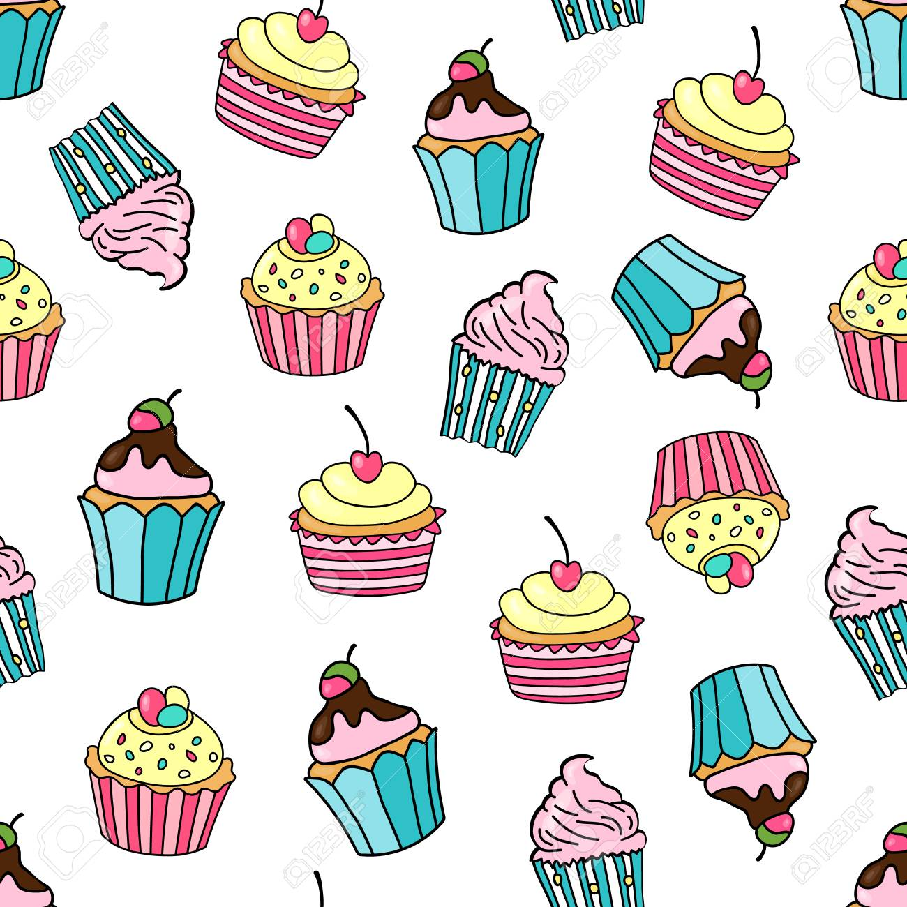 Seamless Pattern With Cupcakes On A White Background Sweet Cakes Decorated Cherry Strawberry