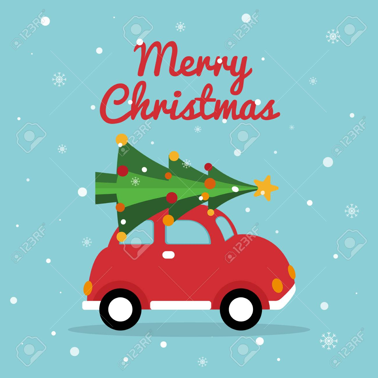 Christmas Retro Car Merry Christmas Card With Red Car Bright Royalty Free Cliparts Vectors And Stock Illustration Image 126199660