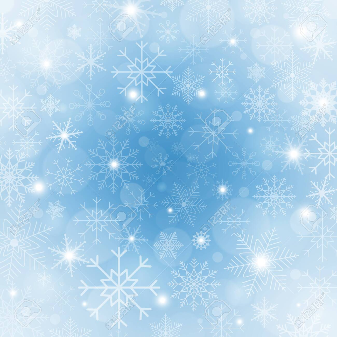Winter blue background with snowflakes. Bright Christmas frame with snowflakes, sparkles and stars. Winter holiday template. New year design. Vector Illustration - 138024168