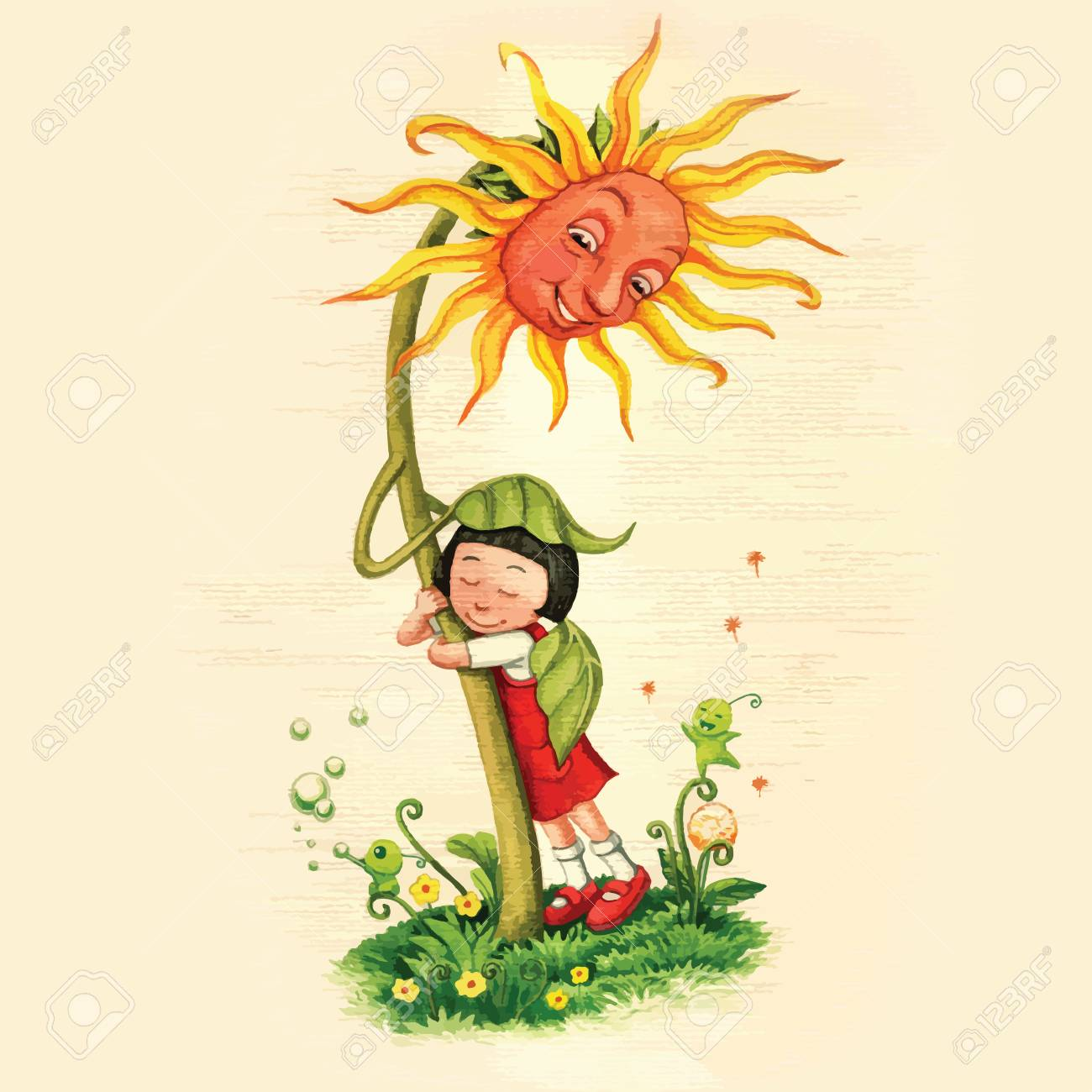 Artistic watercolor hand drawn fairytale sunflower hugging a girl with care and love. Children illustration. - 93209623