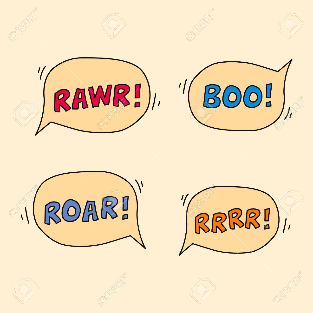 cartoon monster sound speech bubbles rawr boo roar rrr stock