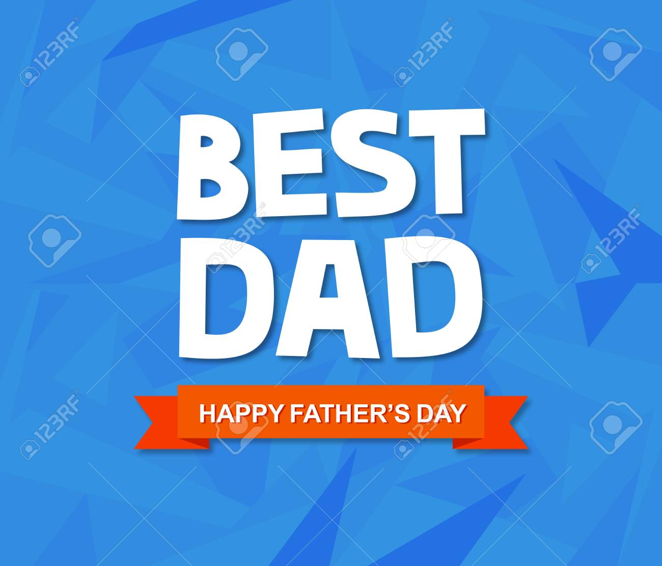 Fathers Day Greeting Card With Custom Typography And Geometric