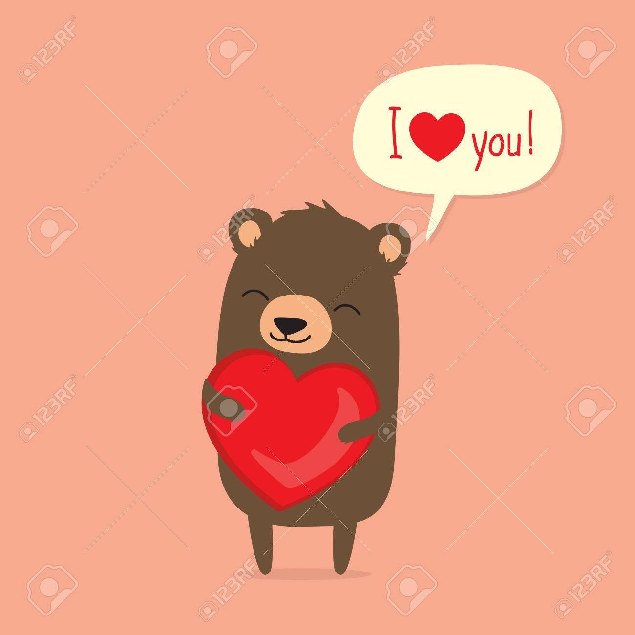 Valentinstag Karte Mit Niedlichen Cartoon Bar Holding Herzen Und