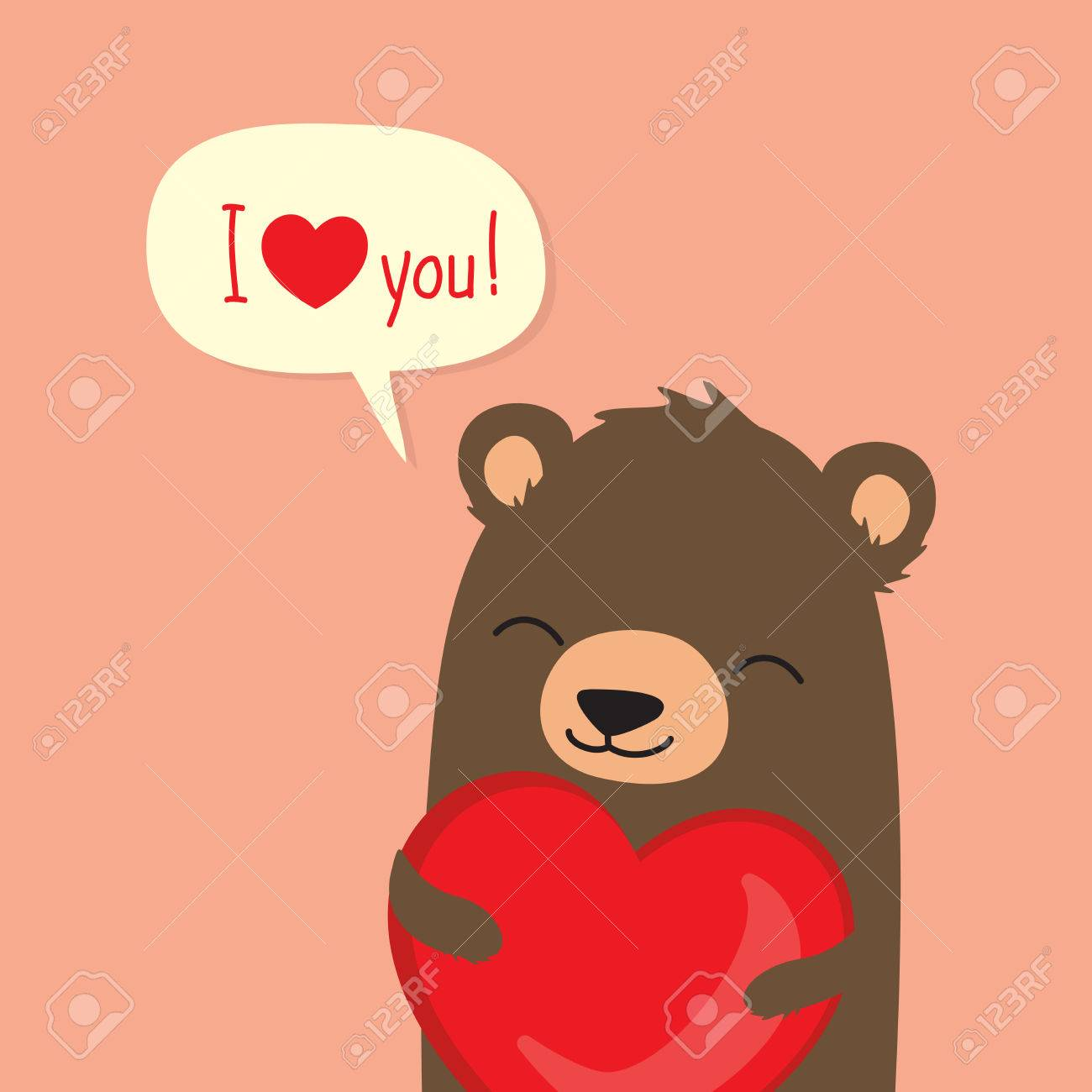 Valentines Day Card With Cute Cartoon Bear Holding Heart And