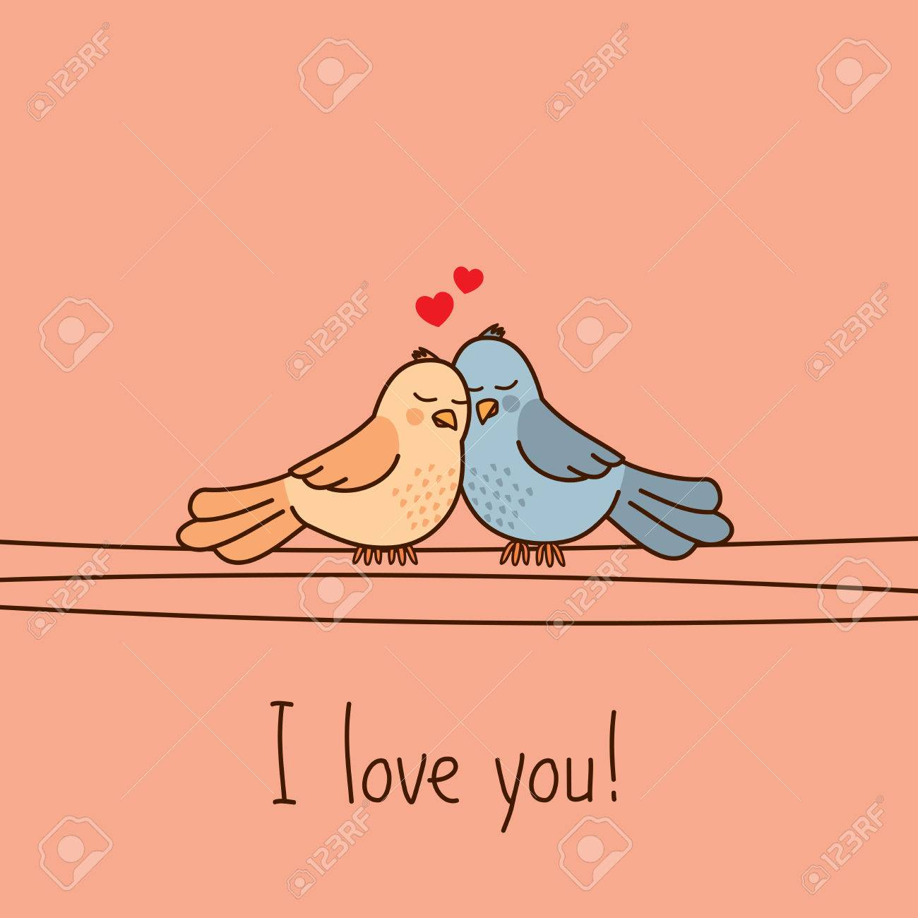 Valentine S Day Greeting Card With Two Cute Cartoon Love Birds Stock