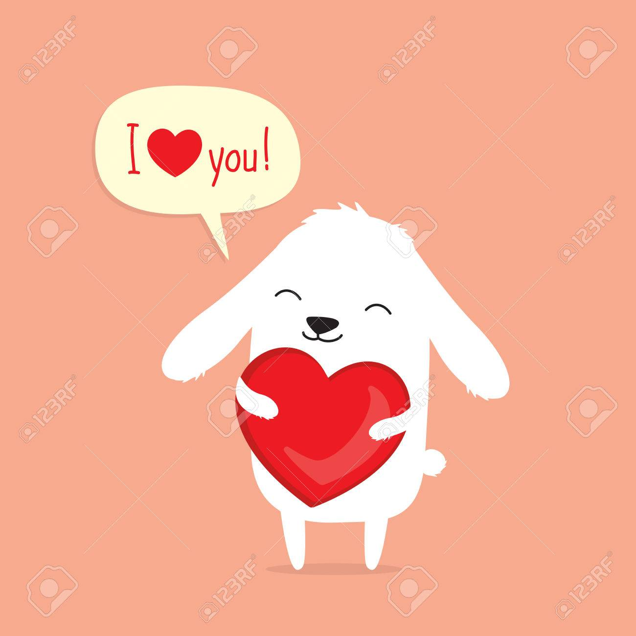 Tarjeta De San Valentin Con Conejo De Conejito De Dibujos Animados