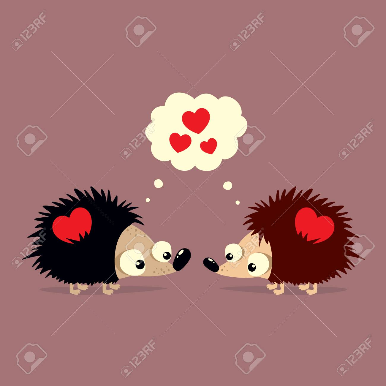 cute valentine s day card with two cartoon hedgehogs falling stock