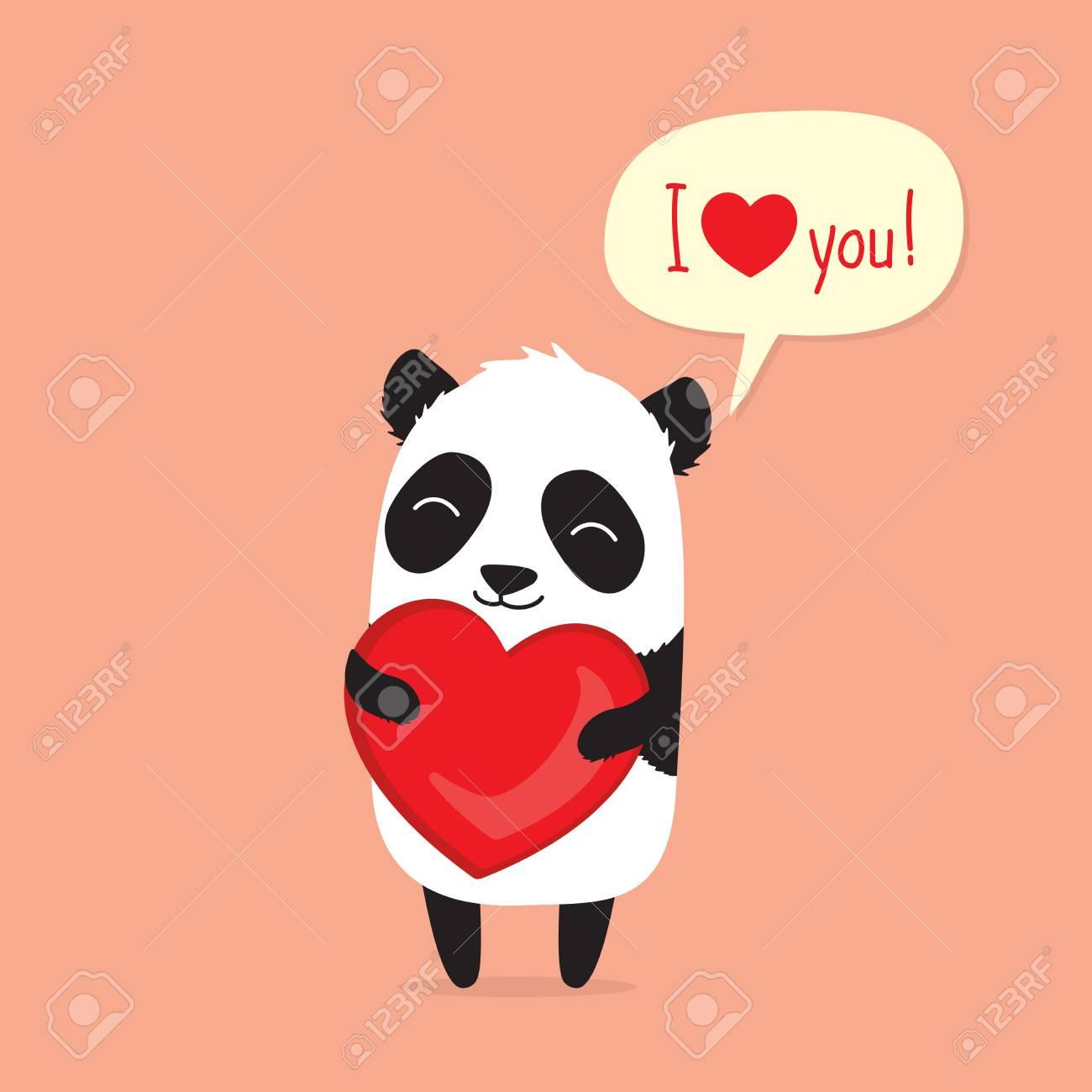 Cute Cartoon Panda Holding Heart And Saying I Love You In Speech