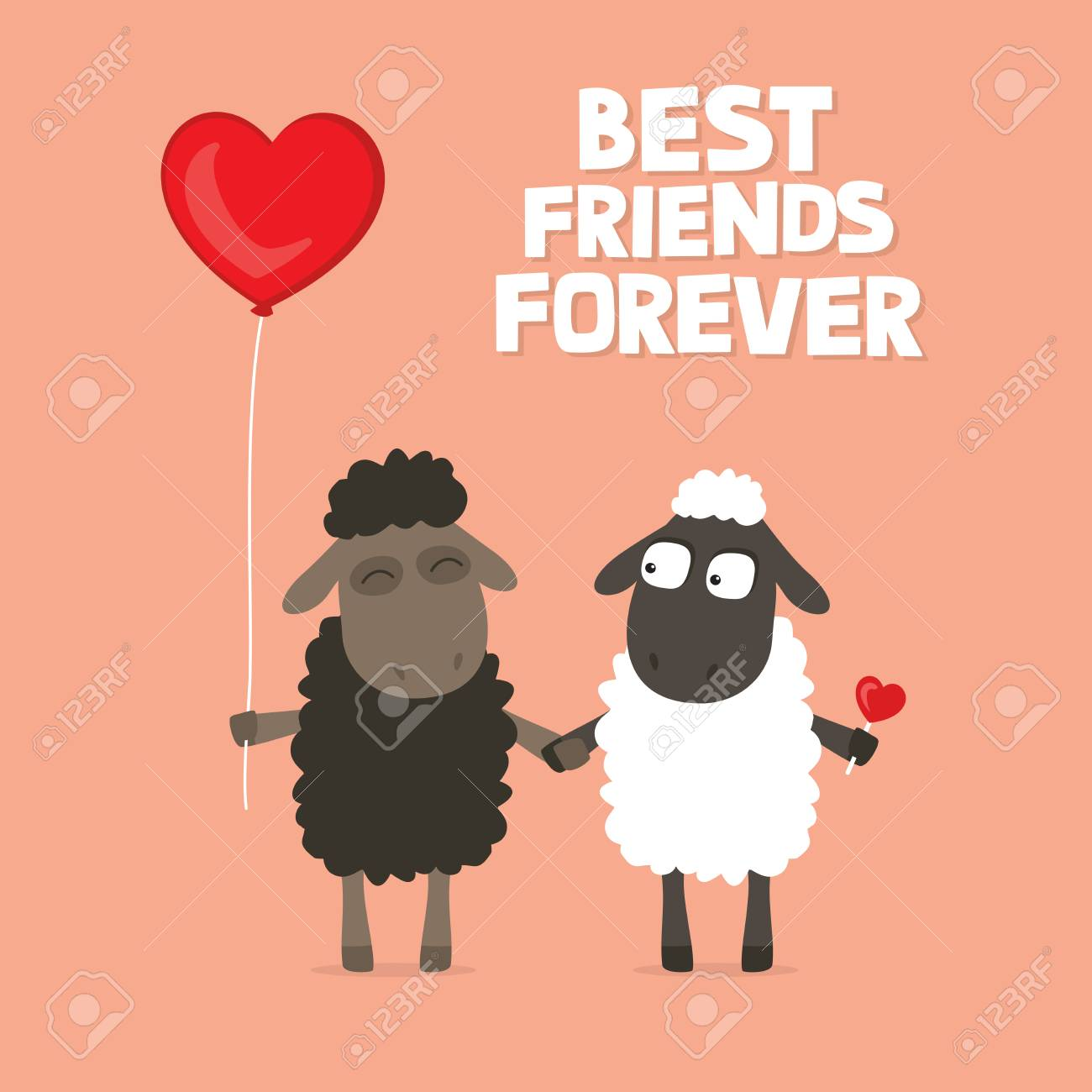 valentine s day card with cute cartoon sheep holding hands with