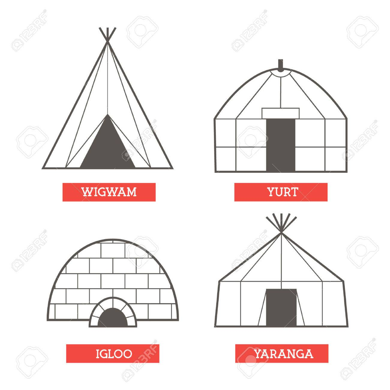 Set of 4 flat traditional houses of different nations live in canada siberia asia north america
