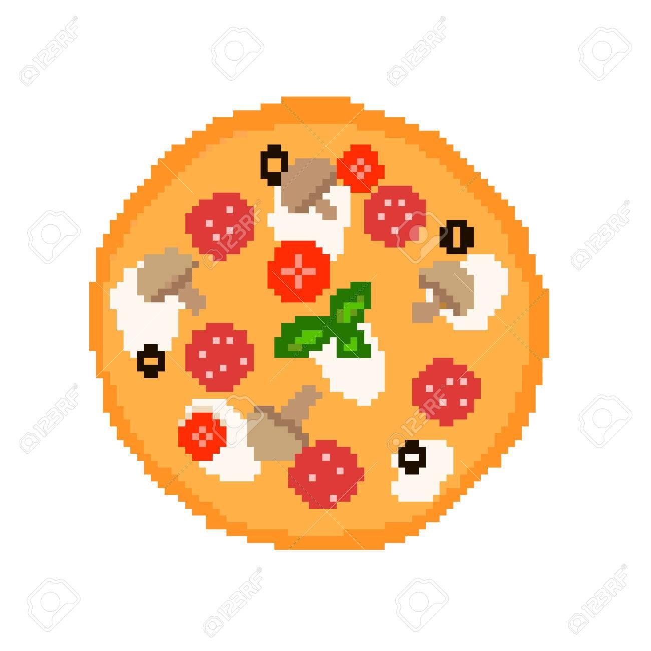 Illustration 8 Bits Pixel Art Dessin Animé Nourriture Pizza Avec Salami Tomates Champignons Olives Mozzarella Basilic Cuit Isolé Sur Fond Blanc