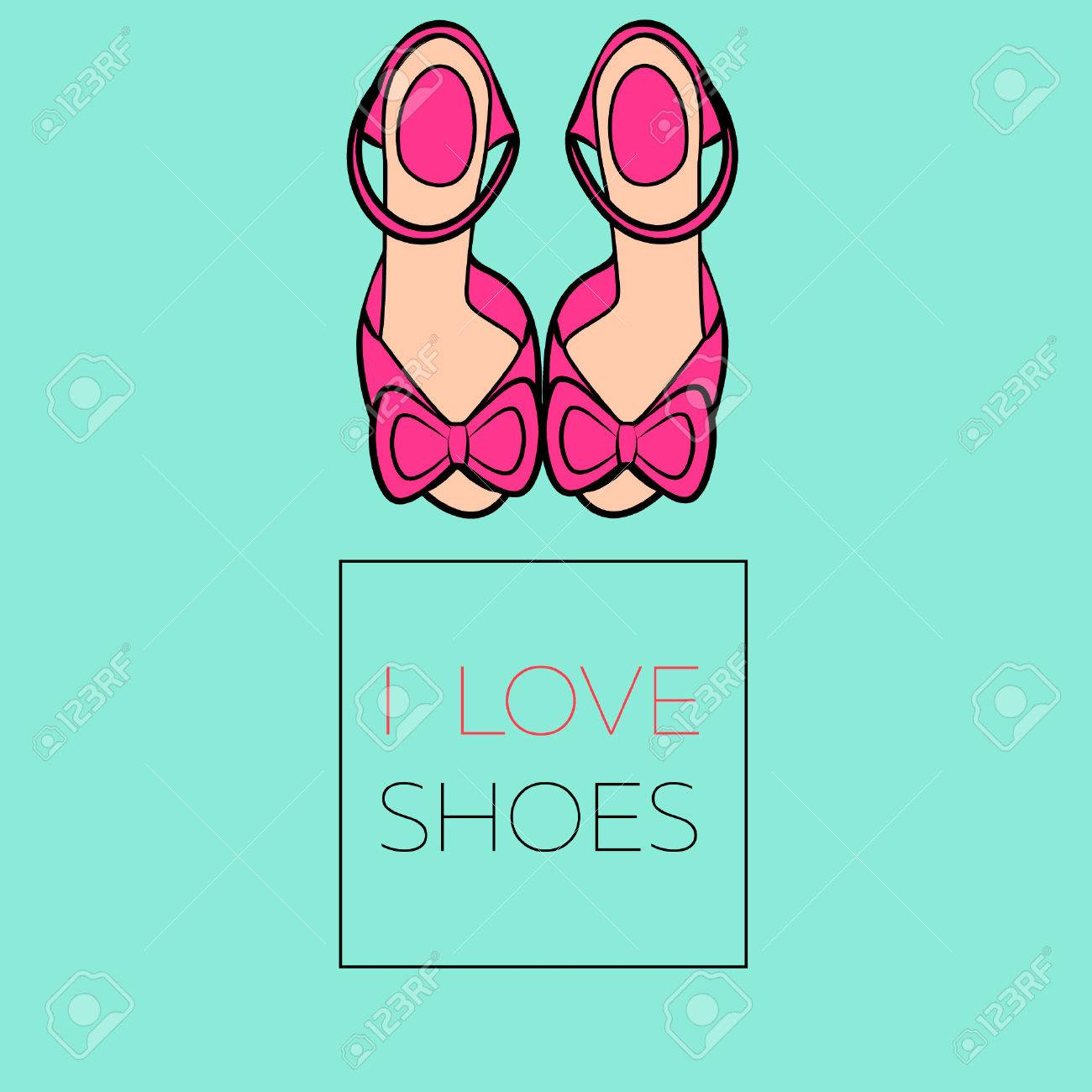 b79f5a8ae4b Flat illustration female pink high heel shoes sandals with bows..