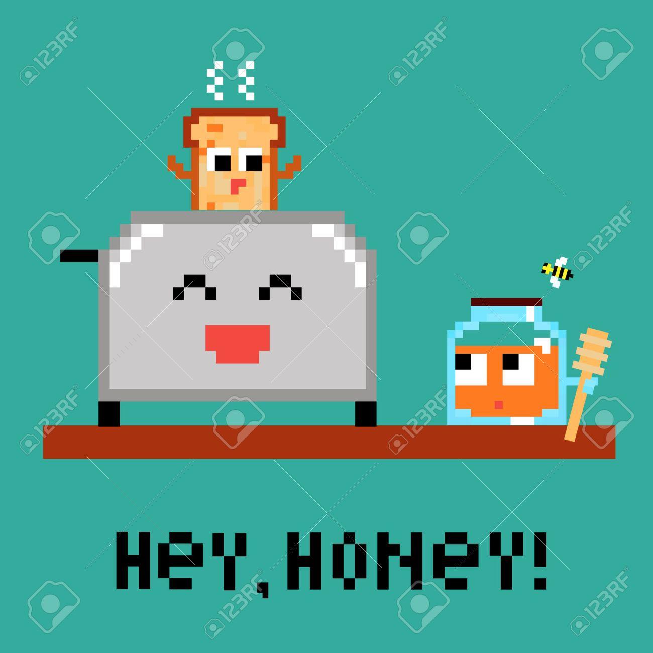 Pixel Art 8 Bit Cartoon Illustration Funny Toaster Fresh Hot ...