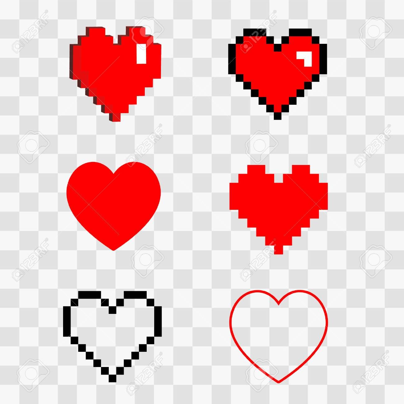 Conjunto De Ilustración 3d 8 Bit Pixel Art Isométrica Dibujos Animados Amor Símbolos Icono De Corazón Rojo Aislado En Transparente Fondo