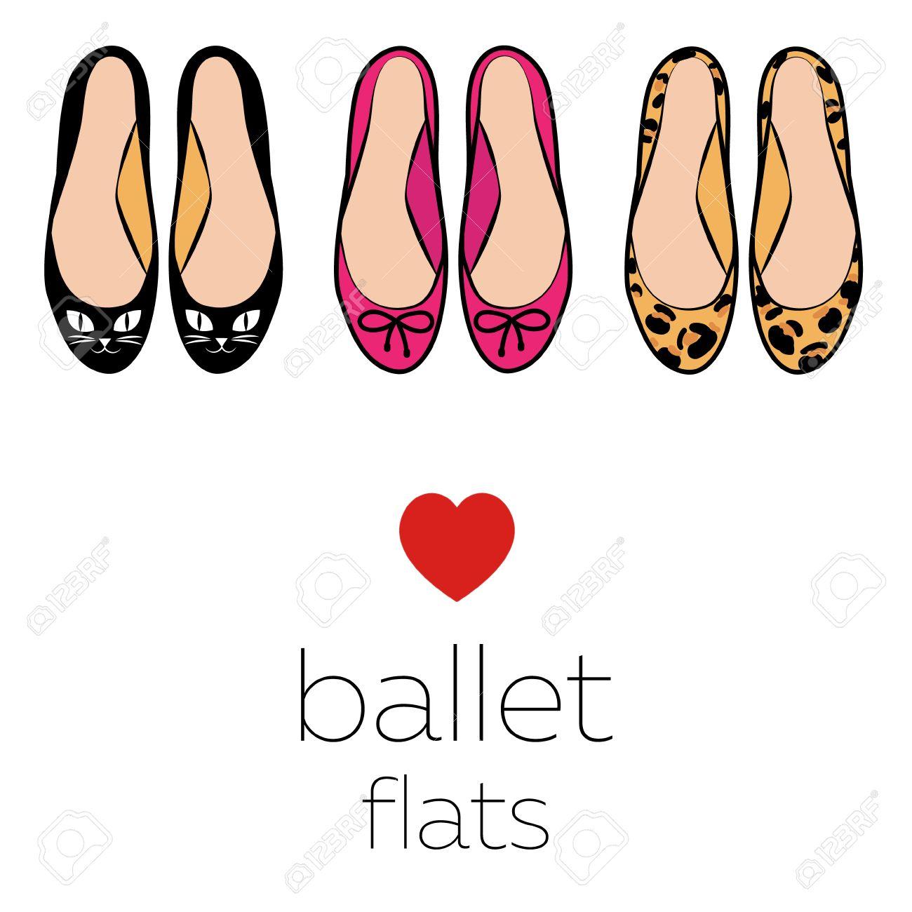 Ilustración conjunto de tres pares de zapatillas de ballet estilo de moda los zapatos de los gatos arcos del rosa del leopardo del color aislado en el