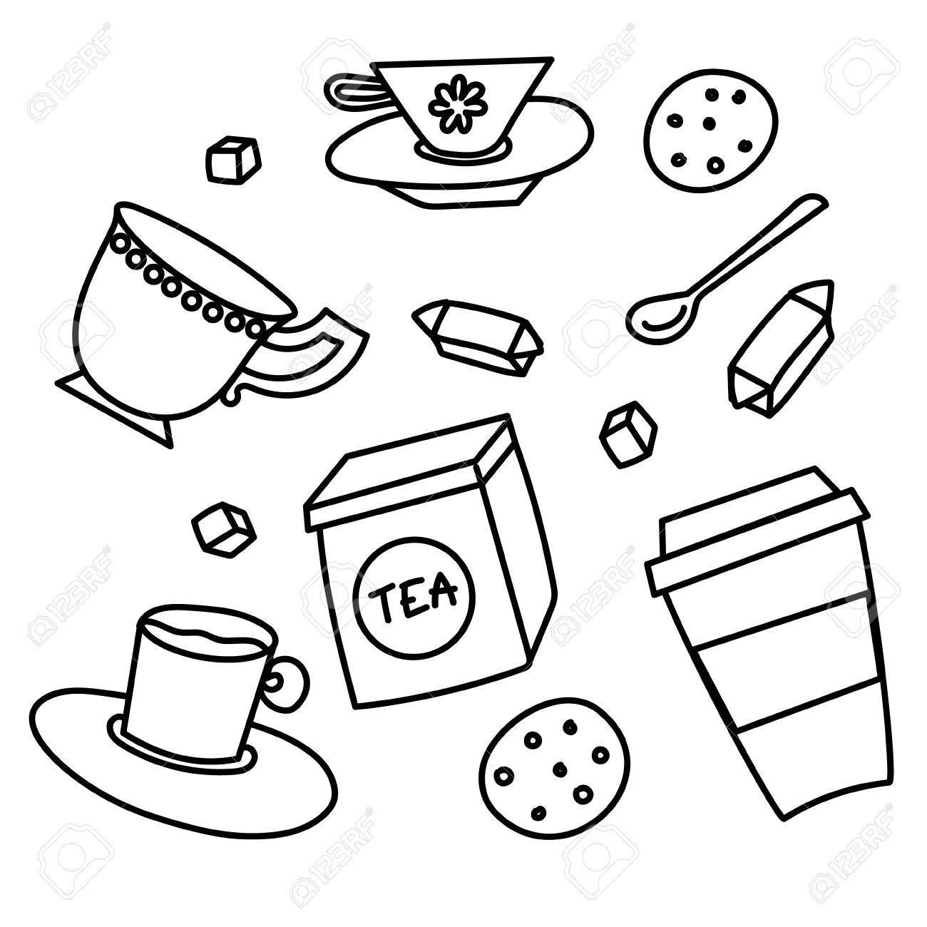 イラスト手描き落書きは線形道具漫画面白いカップ コーヒーと紅茶の白い