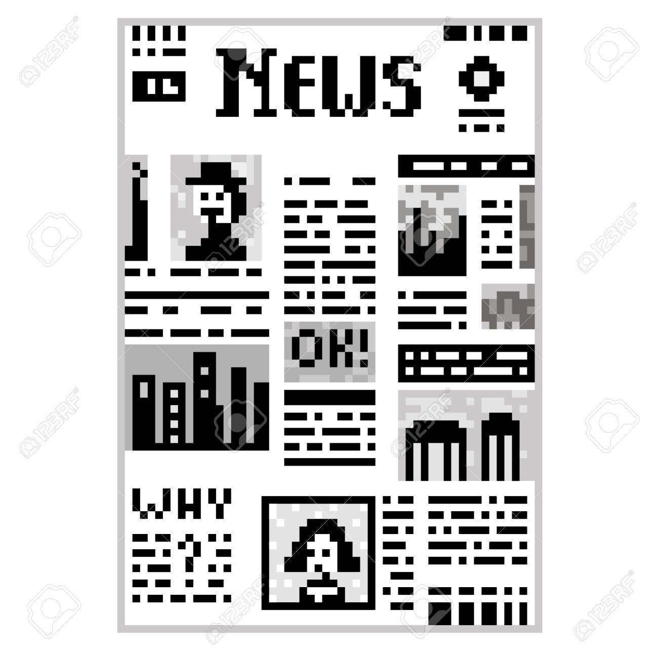 Funny Illustration Pixel Art 8 Bit Black And White Newspaper Isolated On Background With Lettering