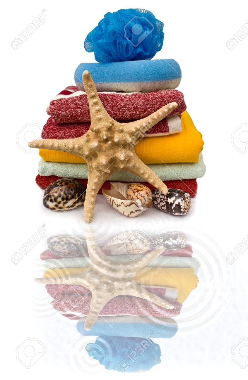 Colorful still life of towel and starfish Stock Photo - 9860083
