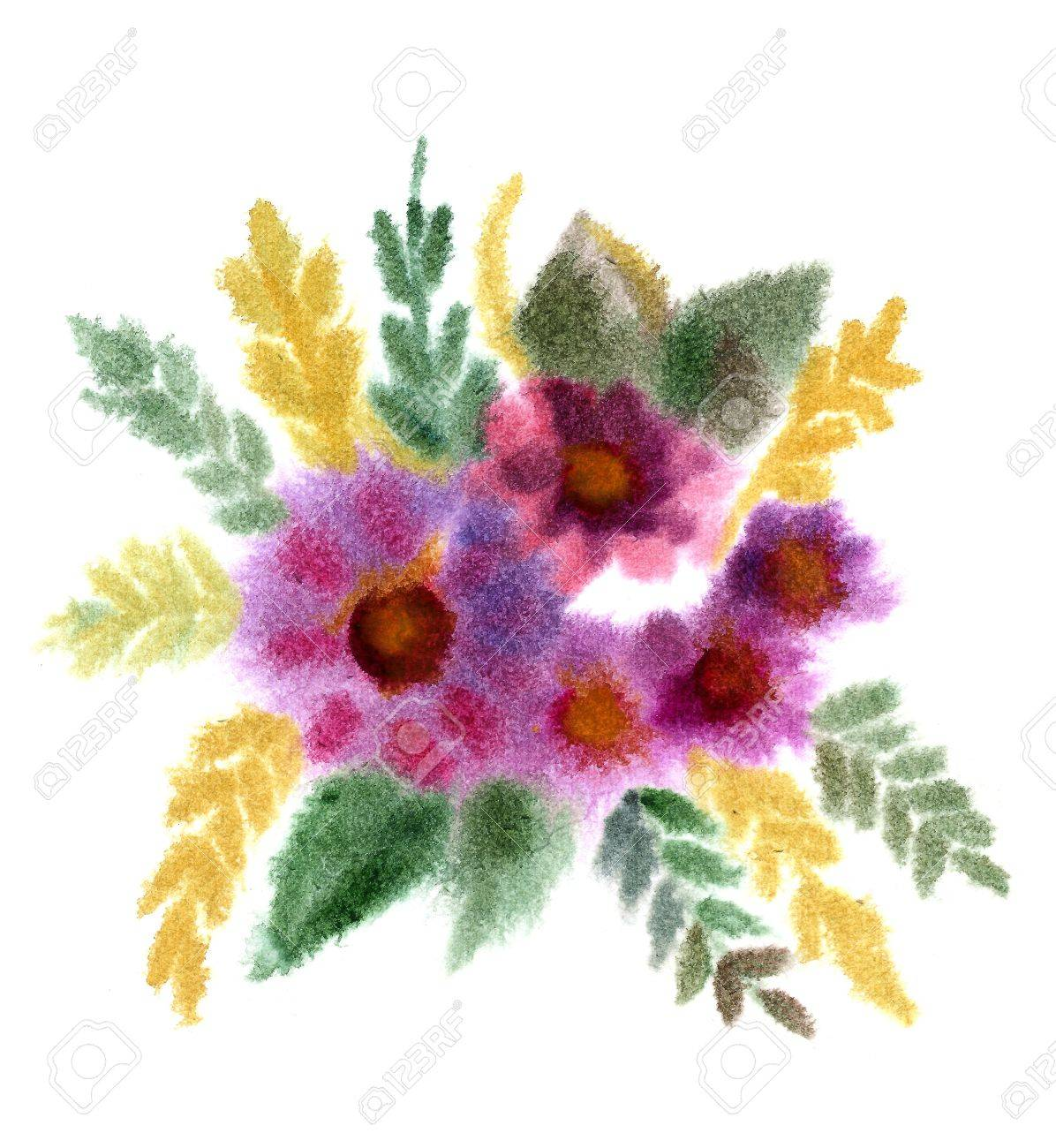 Bouquet Of Flowers Painted In Watercolor Isolated On White Stock