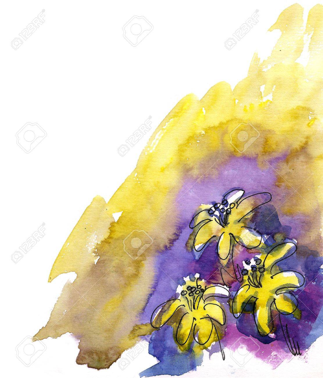 Artistic flowers painted in watercolor  isolated on white Stock Photo - 16441432