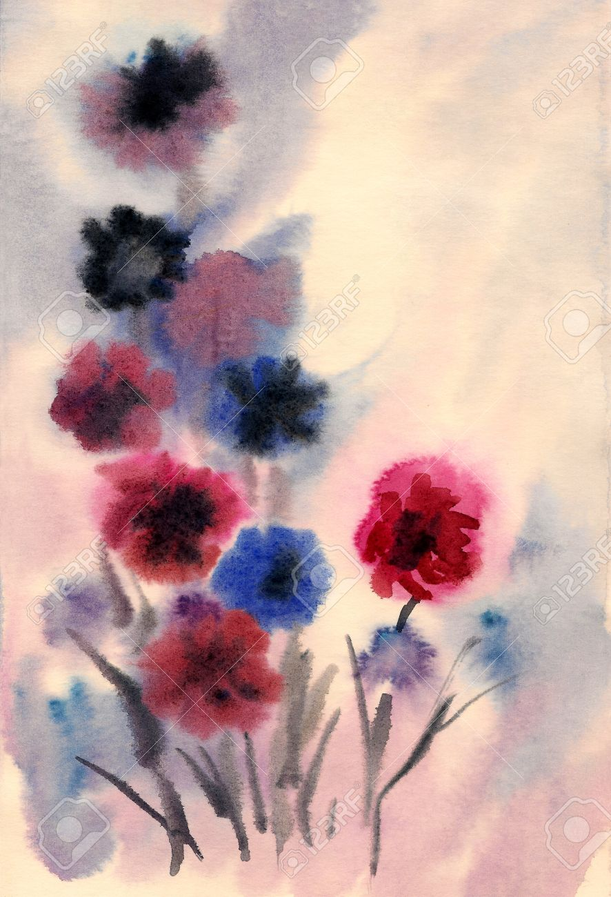 Nice flowers painted in watercolor Stock Photo - 16441448