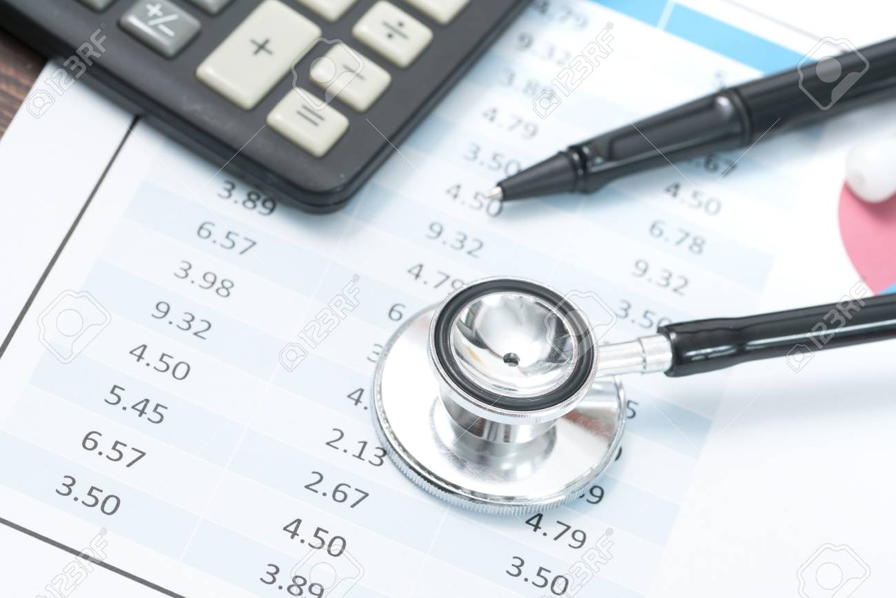 Health Care Costs Stethoscope And Calculator Symbol For Health