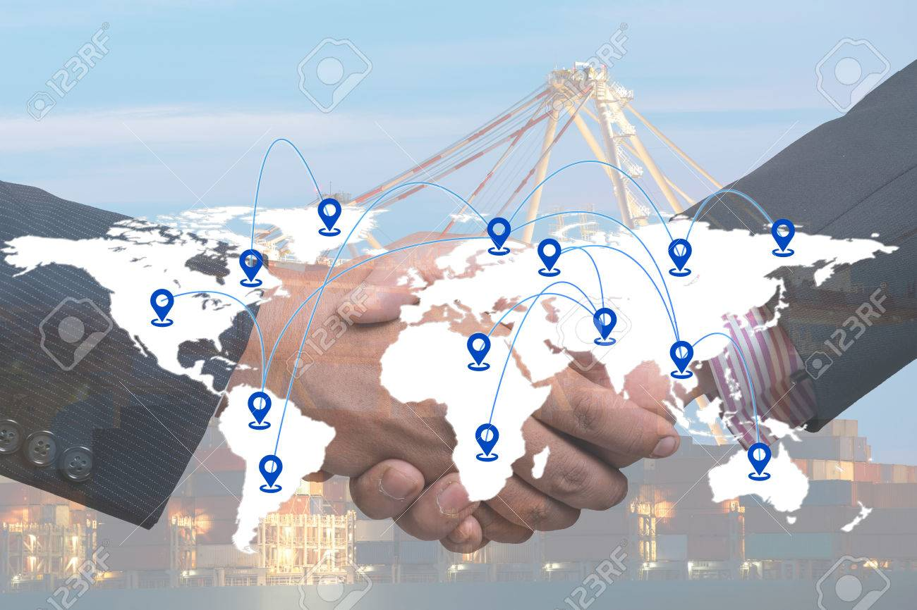 Businessmen shake hands agreement transport all over the world businessmen shake hands agreement transport all over the world logistics concepts worldwide logistics worldwide shipping stock platinumwayz