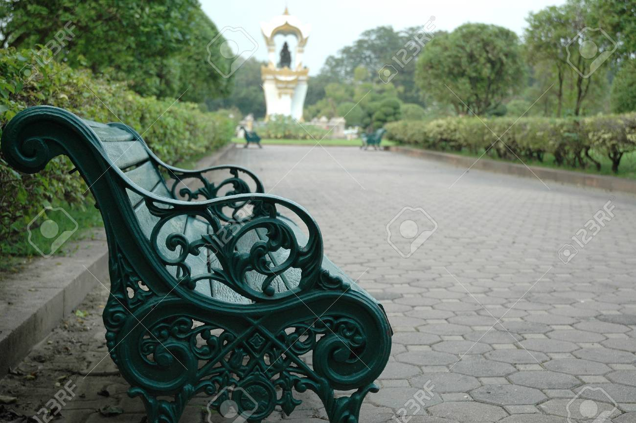 Romantic Old Style Bench In Park Stock Photo Picture And Royalty