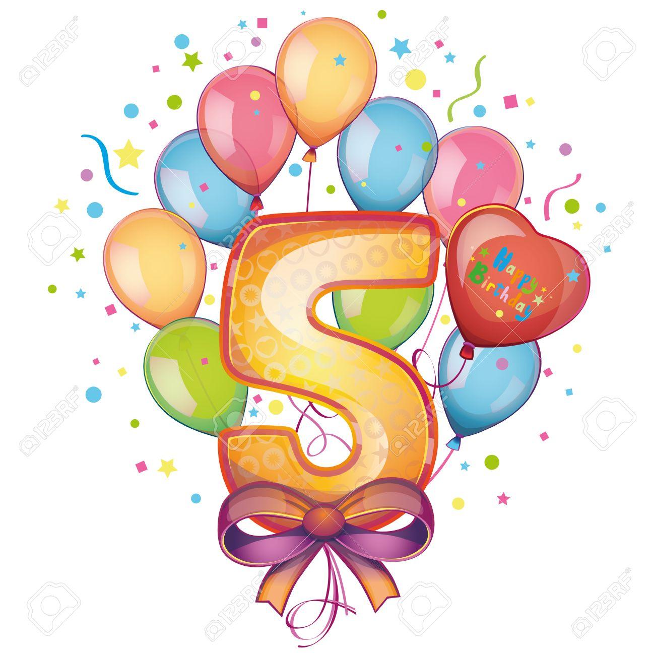 5 Happy Birthday balloons - 22406824