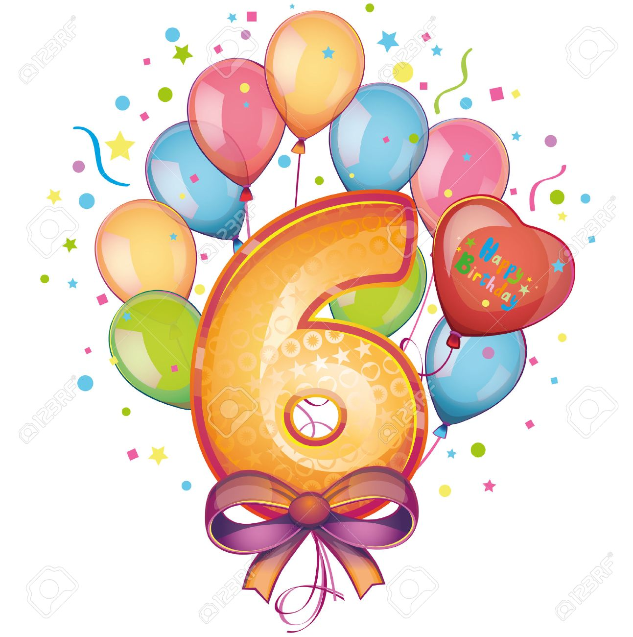6 Happy Birthday Balloons Stock Vector