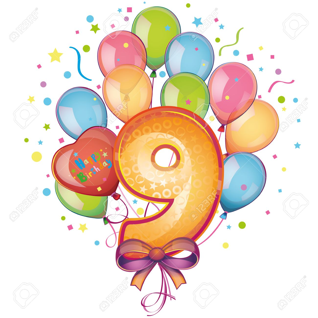 9 Happy Birthday Balloons Stock Vector