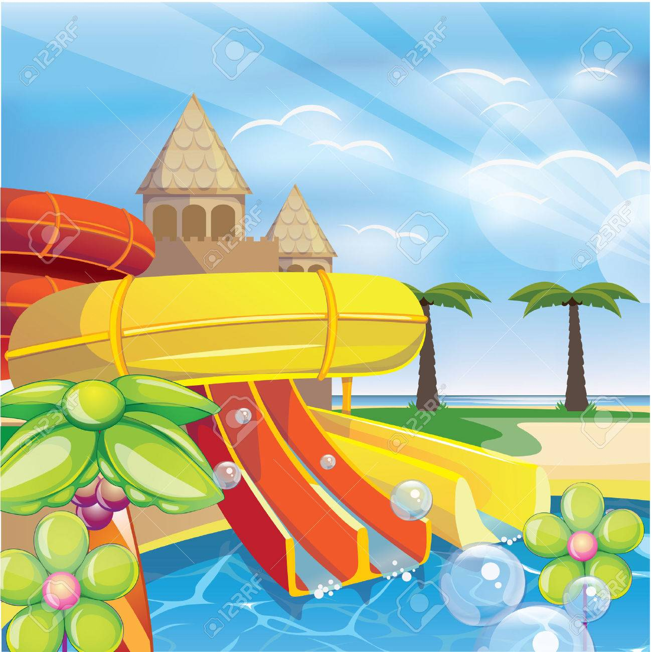 14 651 water park stock vector illustration and royalty free water rh 123rf com water park slides clip art water park clipart black and white