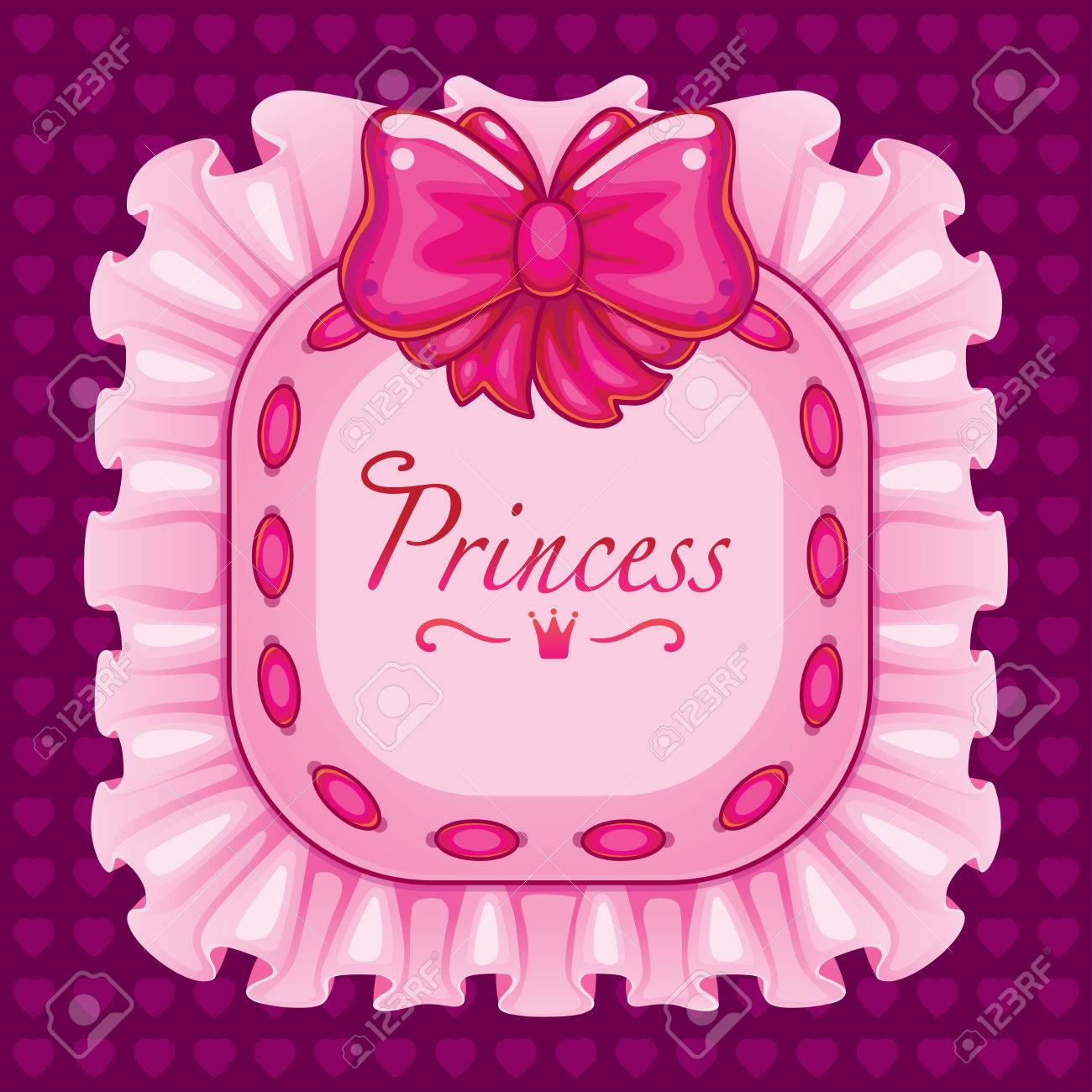 Frame With A Bow And Ribbon Pink Pillow With The Word Princess