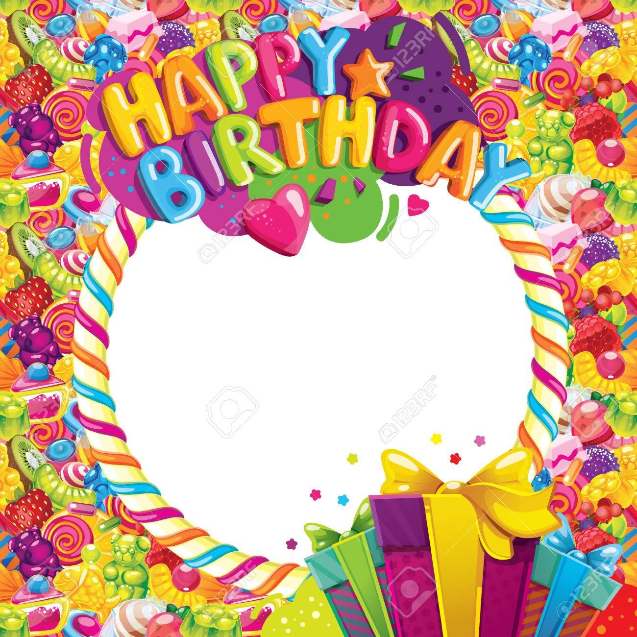 Marco Del Vector Del Color Del Feliz Cumpleaños. Inscripción ...