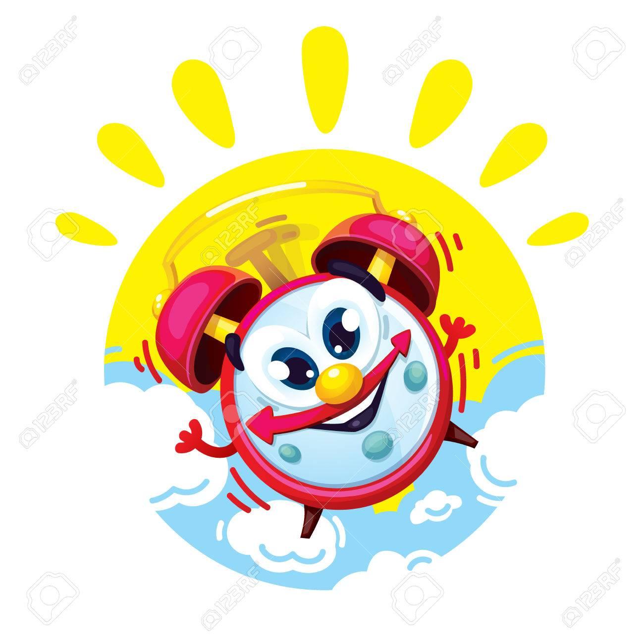 Del El Las Cómico Niños Sol Despertador Rojo Dibujos Buenos Patrón Y NubesVector Ilustración Aislados Un De En Días Los Animados 80ZOkNnwPX