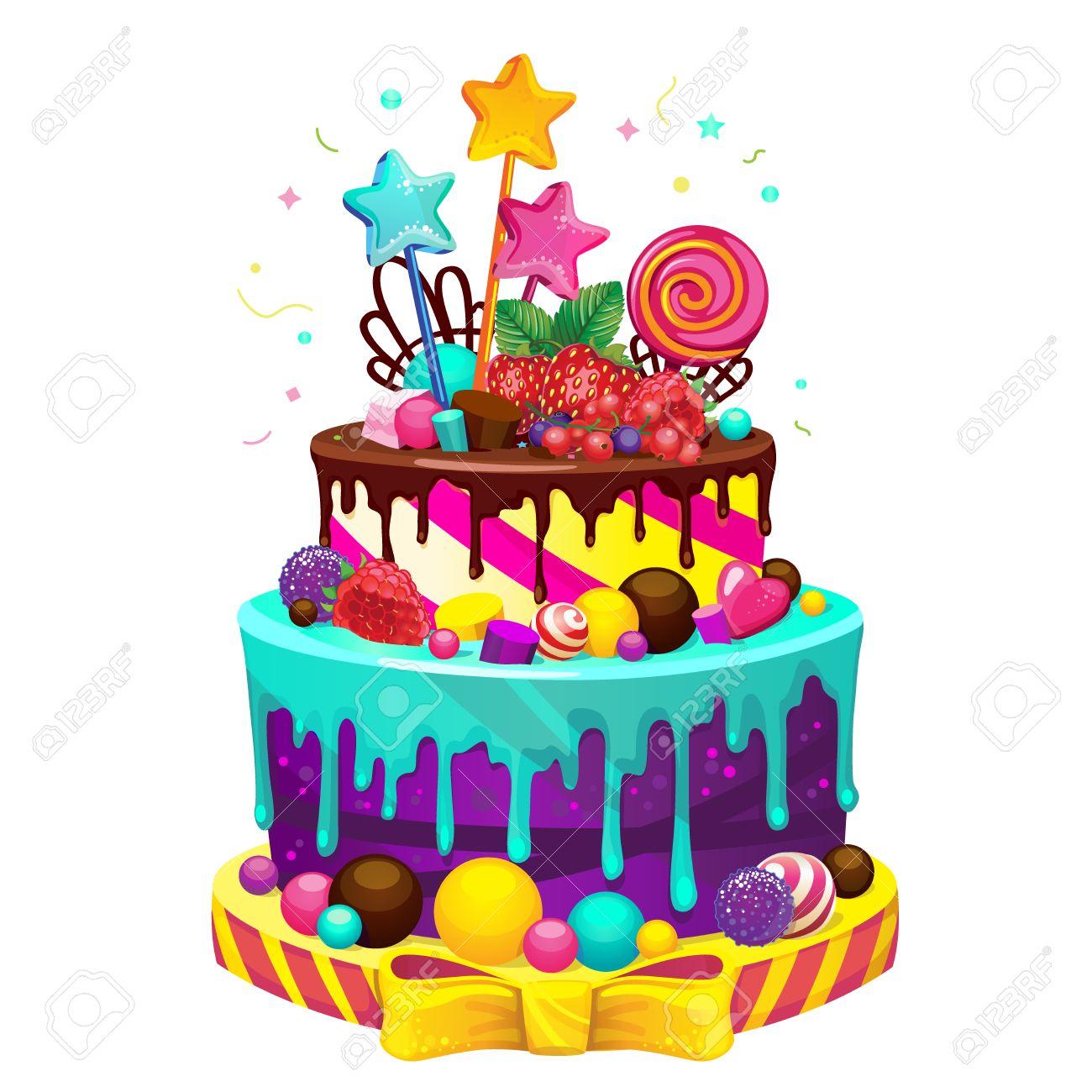 feest taart Gelukkige Verjaardagstaart. Heldere Vector Geïsoleerde Illustratie  feest taart