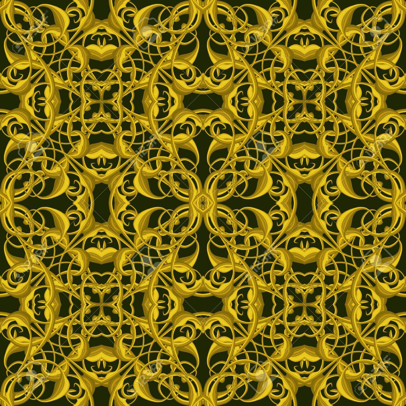 Fantasy Golden Pattern With Fantastic Foliage Elements For Decor ...